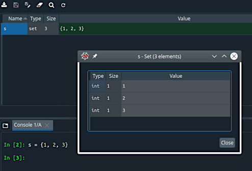 Screenshot of Spyder Variable Explorer UI, showing a Python set displayed in a native viewer
